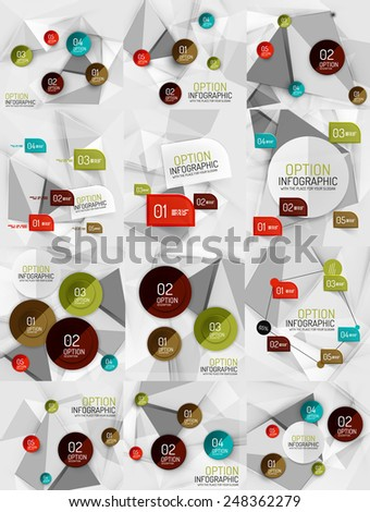 Set of vector business abstract infographics on 3d triangular backgrounds - stock vector