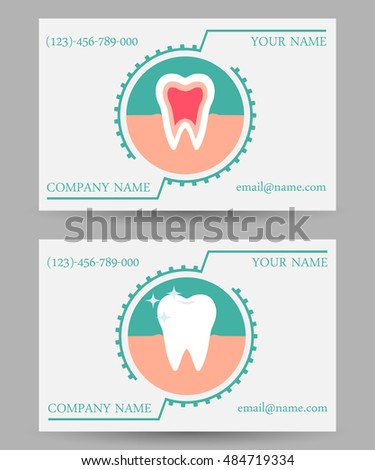 Dentist appointment tooth heart watercolor dental business card set of vector business card templates dental clinic dental icon dental business card flashek Images