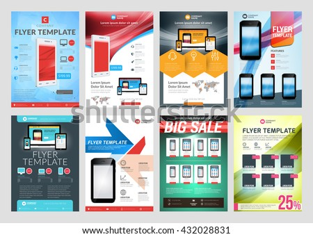 Set vector business flyer design templates stock vector 432028831 set of vector business flyer design templates design templates for brochures flyers mobile cheaphphosting Gallery