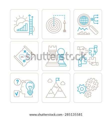 Set of vector business icons and concepts in mono thin line style - stock vector