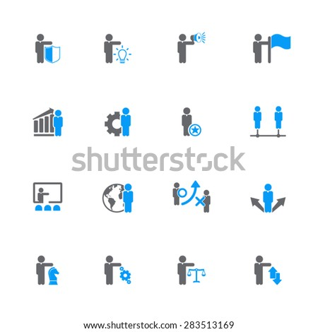 Set of 16 vector business management, strategy or human resource icons EPS10 vector. Gray and blue icon set. - stock vector
