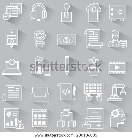 Set of vector business outline icons with shadow - vector icons - stock vector