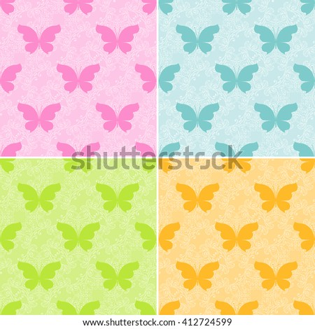 Set of vector butterflies colorful seamless pattern. Abstract butterflies on ornamental seamless background - stock vector