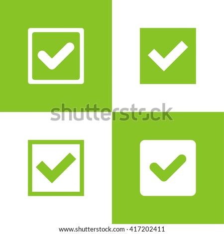Set of vector buttons with check marks or ticks. checkbox. Web and mobile applications. acceptance positive passed voting. Green. flat design - stock vector