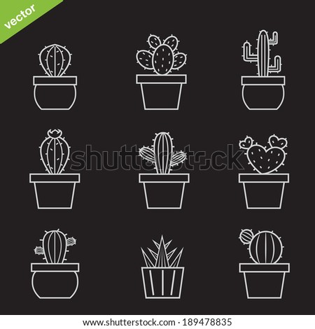 Set of vector cactus icons on black background - stock vector