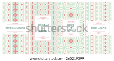 Set of vector card templates for Save The Date. Vintage wedding background in vector - stock vector