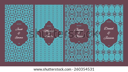Set of vector card templates for Save The Date, wedding invitation, baby shower invitation - stock vector
