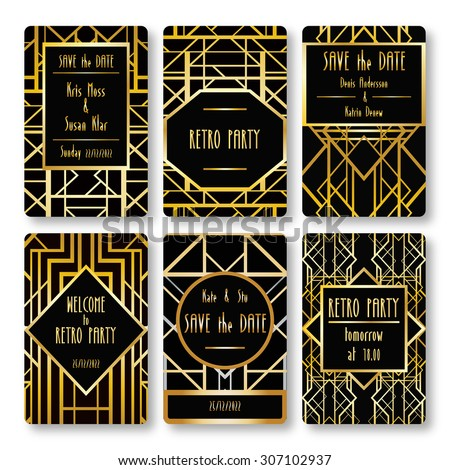 Set vector card templates art deco stock vector 307102937 set of vector card templates in art deco style ideal for save the date toneelgroepblik Gallery