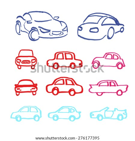 Set of vector cars icons made marker.