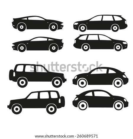 Set of vector cars silhouette, black