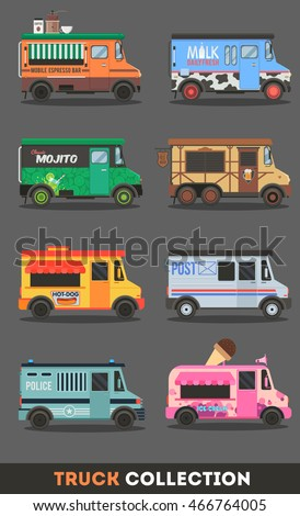 Set of vector cars with a coffee mill,cup,lime cocktail,ice cream,post,police,hot dog,beer icon