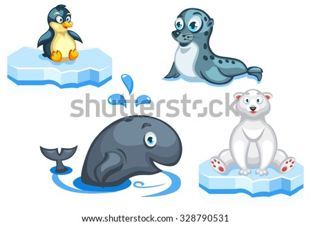 Set of vector cartoon arctic animals: a navy seal, a polar bear, a whale and a penguin - stock vector