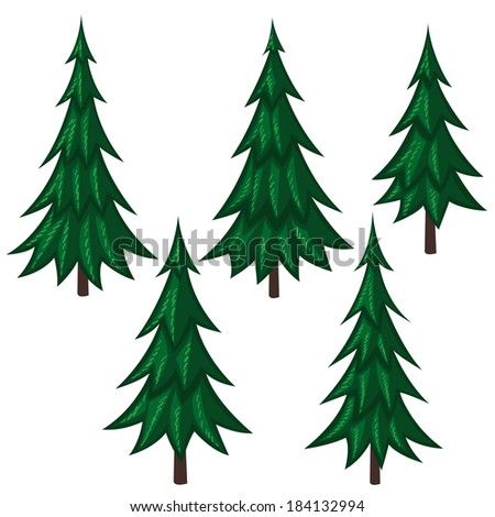 Set Of Vector Cartoon Fir Trees