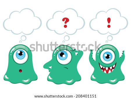 Set of vector cartoon funny monsters with thought or speech bubble - stock vector