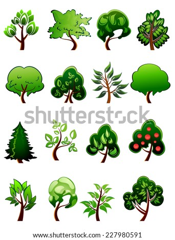 Set of vector cartoon green plants and trees design isolated on white background - stock vector