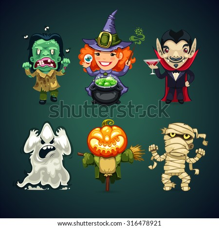 Set of Vector Cartoon Halloween Characters for your Holiday Project - stock vector
