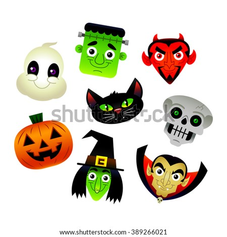 Set of vector cartoon Halloween characters: White Ghost, Frankenstein Monster, Red Devil, Spooky Skeleton Skull, Orange Jack O'Lantern Pumpkin, Green Witch, Black Cat, and Dracula Vampire