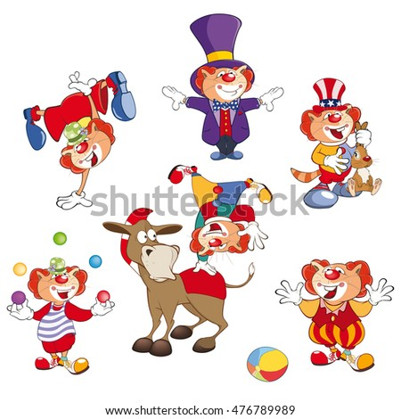 Set of Vector Cartoon Illustration. A Cute Cats Clowns for you Design