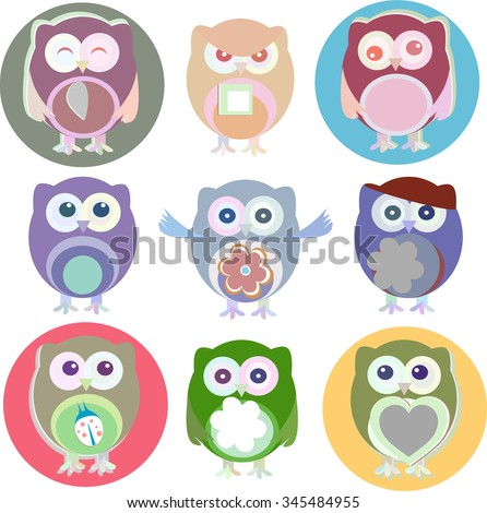 Set of vector cartoon owls with various emotions - stock vector