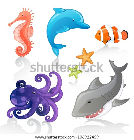 Set of Vector Cartoon Sea Creatures - stock vector