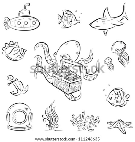 Set of vector cartoons on deep underwater world theme - stock vector