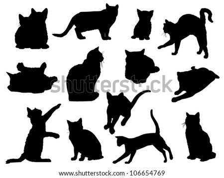 Set of Vector Cat Silhouettes - stock vector