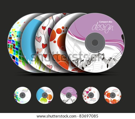 Set of vector cd cover design template design. - stock vector