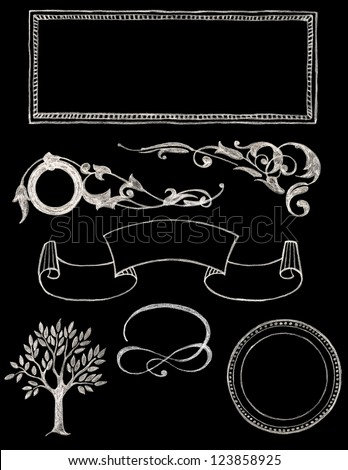 set of vector chalkboard design elements - Chalkboard 1 - stock vector