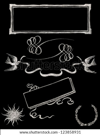 set of vector chalkboard design elements - Chalkboard 2 - stock vector