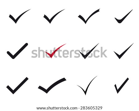 Set of vector check marks. - stock vector