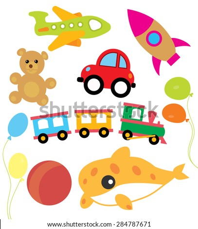 Set of vector child and kids toys vector illustration