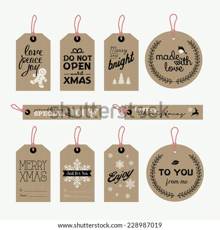 Set of vector Christmas and New Year gift tags - stock vector