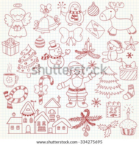 Set of vector Christmas characters and ornaments in doodle style. Can be used for xmas or winter design - stock vector