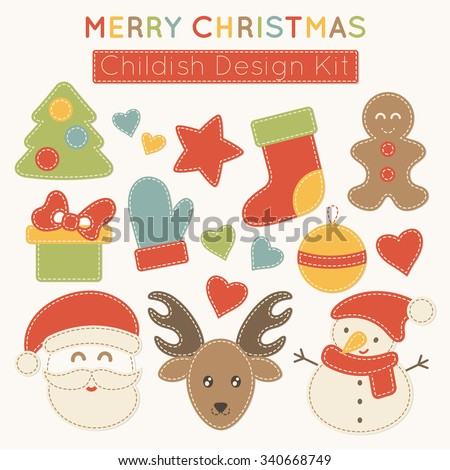 Set of vector Christmas design elements (xmas tree, stockings, mittens, snowman, reindeer, Santa Claus etc.) for babies (children's wear, decoration). Stylized applique with white seams - stock vector