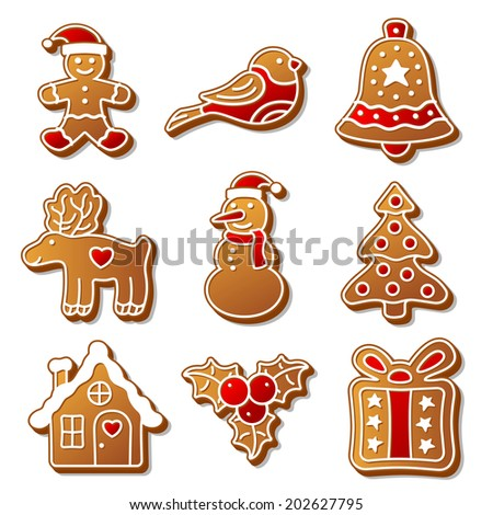 Set of vector Christmas ginger breads illustration for your design - stock vector