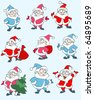 Set of vector christmas illustrations depicting Santa Clause in various figures - stock vector