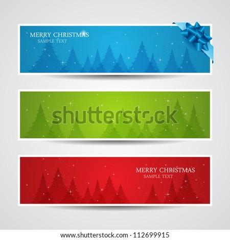 Set of vector christmas New Year horizontal banners - stock vector