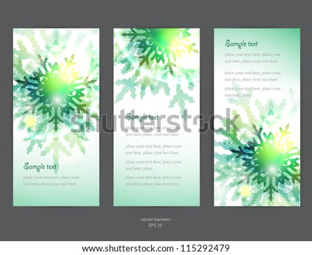 Set of vector christmas / New Year vertical banners - green snowflakes - stock vector