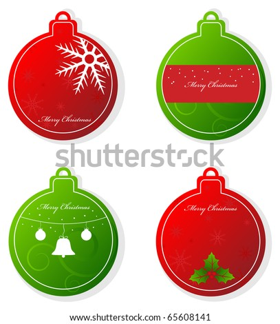 Set of vector christmas red and green tags - stock vector