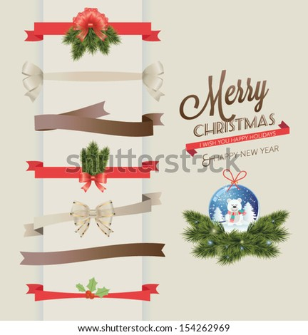 Set of vector Christmas ribbons and vintage new year labels. Elements for Xmas design: christmas bear, balls, mistletoe, fur-tree branches... - stock vector