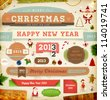 Set of vector Christmas ribbons, old dirty paper textures and vintage new year labels. Elements for Xmas design: santa, balls, sweet, mistletoe, fur-tree branches, snowman with gift, Gingerbread Man. - stock photo