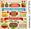 Set of vector Christmas ribbons, old dirty paper textures and vintage new year labels. Elements for Xmas design: santa, balls, mistletoe, gifts, curled corner paper frames. Christmas decorations set. - stock