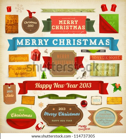 Set of vector Christmas ribbons, old dirty paper textures and vintage new year labels. Elements for Xmas design: santa, balls, mistletoe, gifts, curled corner paper frames. Christmas decorations set. - stock vector