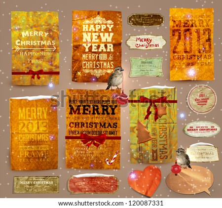 Set of vector Christmas ribbons, old dirty paper textures and vintage new year labels. Elements for Xmas design: birds with baubles, gingerbread, ribbon bows, candy cane, stars and glow snowflakes - stock vector