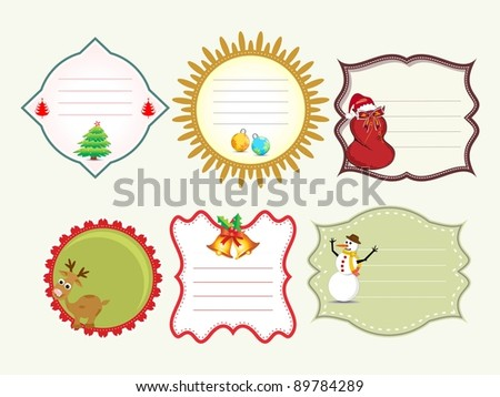 Set of vector Christmas tags with Cute Christmas Character. - stock vector