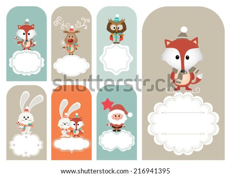 Set of vector Christmas vector elements, vintage banner, frames, badge, stickers. Vintage fox, reindeer, santa, bunny and polar bear - stock vector