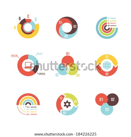 set of vector circle infographic design templates on white background - stock vector