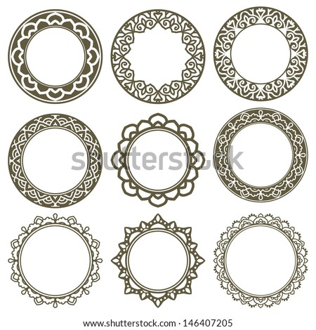 Set Of 9 Vector Circle Ornate Frames - stock vector