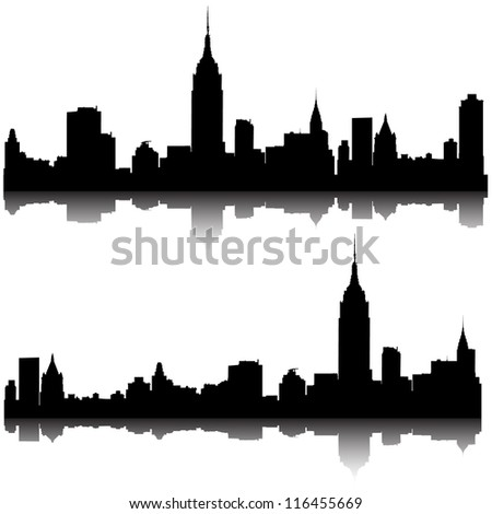 Set of vector cities silhouette. 8 eps - stock vector