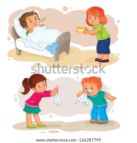 set vector icons small children different stock vector